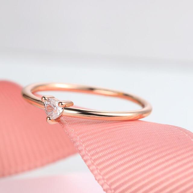 18号 キュービックジルコニア ハート リング  k18コーディング 指輪 レディースのアクセサリー(リング(指輪))の商品写真