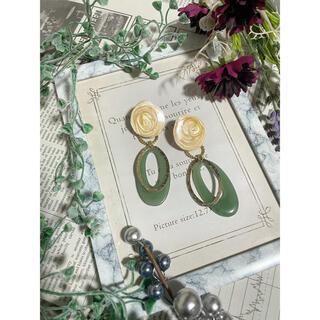 【Handmade】marble goldring earring