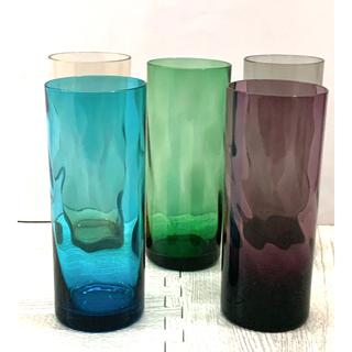 トウヨウササキガラス(東洋佐々木ガラス)の昭和レトロヴィンテージ♦︎佐々木ガラス♦︎カラーグラスタンブラー♦︎5個セット(グラス/カップ)