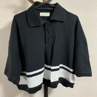 SUNSEA - neon sign ネオンサイン ポロシャツ 半袖 5分袖 Tシャツ ブラック