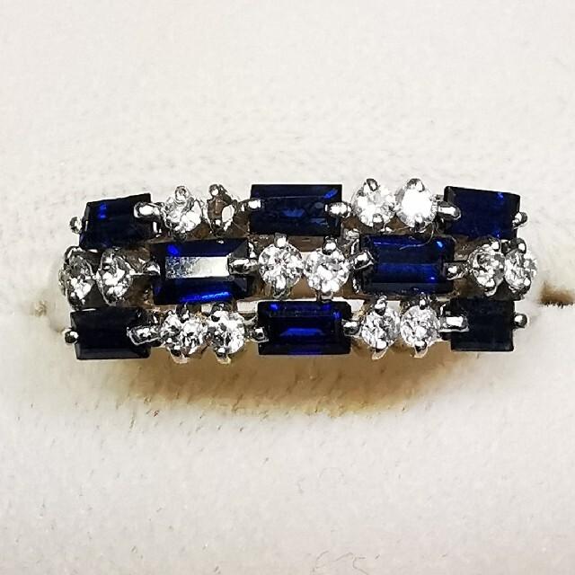 プラチナ900 ダイヤ、サファイアリング レディースのアクセサリー(リング(指輪))の商品写真