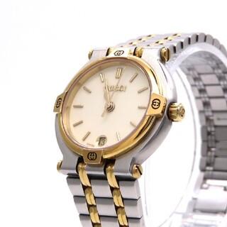 グッチ(Gucci)の【GUCCI】グッチ 時計 '9000L' コンビモデル アイボリー ☆美品☆(腕時計)