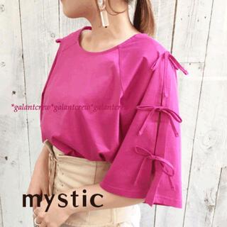 mystic - 【新品】mysticミスティック★ラグランショルダー袖リボンプルオーバー★ピンク