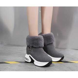 37(23.5㎝)ショートブーツ ファーブーツ 足長効果 厚底ブーツ
