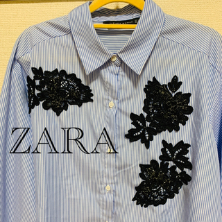 ZARA - 新品未使用☆ZARA ビジュー付きストライプブラウス【Lサイズ】