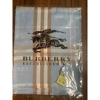 BURBERRY - バーバリー・カシミヤ100%大判ストール 水色