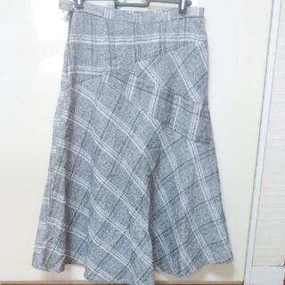 チェック柄切り替えフレアースカート(ロングスカート)