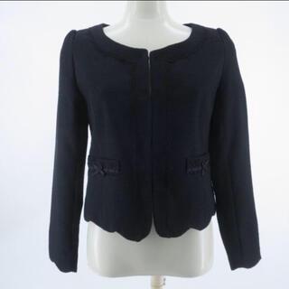 入学式入園卒業プライムパターン卒園式黒ブラックリボンジャケットスーツレッセパッセ(ノーカラージャケット)
