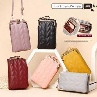 スマホショルダーバッグ レディース 縦型 財布 シンプル ミニポーチ カード収納