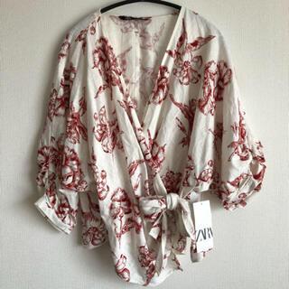 ザラ(ZARA)の新品 zara  リネン混 カシュクール ブラウス(シャツ/ブラウス(長袖/七分))