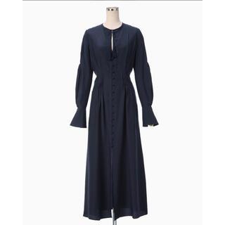 mame - mame kurogouchi  A line silk dress navy