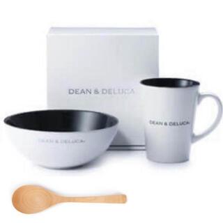 ディーンアンドデルーカ(DEAN & DELUCA)の3点セット‼️DEAN & DELUCA シリアルボウル&ラテマグ+スプーン 白(食器)