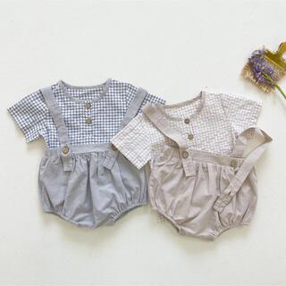 *韓国子供服 * チェックシャツ +  サスペンダー 付き ブルマ セットアップ(ロンパース)