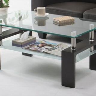 デザインがおしゃれな棚付きガラステーブル センターテーブル (ローテーブル)