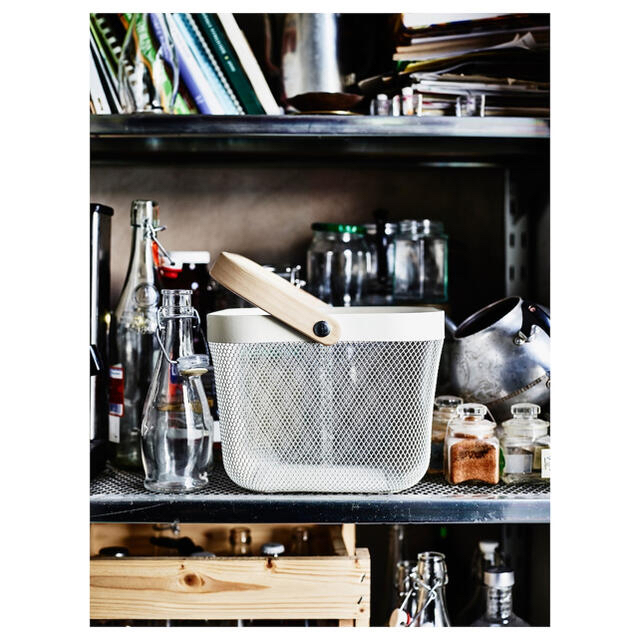IKEA(イケア)の【新品】IKEA イケア バスケット かご 2個(ホワイト+ピンク)リーサトルプ インテリア/住まい/日用品のインテリア小物(バスケット/かご)の商品写真