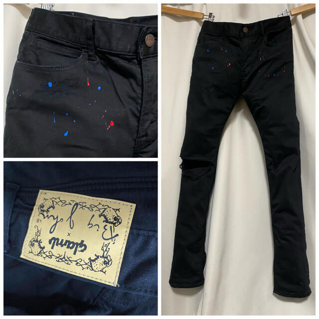 glamb(グラム)のglamb グラム 膝ダメージ ペンキ ストレッチブラックパンツ スキニー メンズのパンツ(デニム/ジーンズ)の商品写真