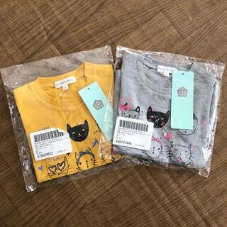 3can4on - 3can4on 【90cm】コットン天竺ユルネコプリントTシャツ