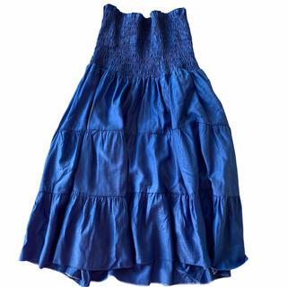 エディットフォールル(EDIT.FOR LULU)のギャザー ブルー スカート(ロングスカート)