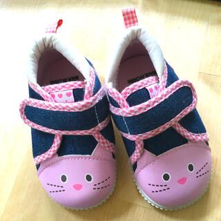ニシマツヤ(西松屋)の子供靴 12 ピンク猫ちやん(スニーカー)