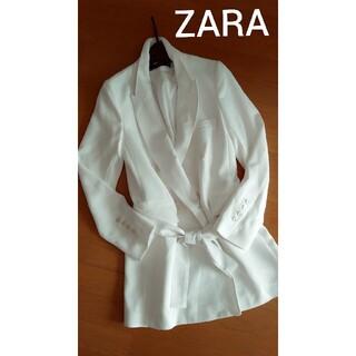 ザラ(ZARA)の美品♪ZARA WOMAN★春先に♪さらさらホワイトスプリングコート(スプリングコート)