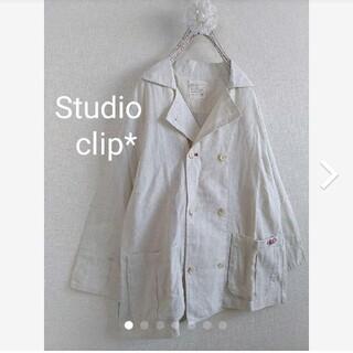 スタディオクリップ(STUDIO CLIP)のstudioclipリネン混イニシャル刺繍ポケットが可愛ダブルボタンJK(テーラードジャケット)