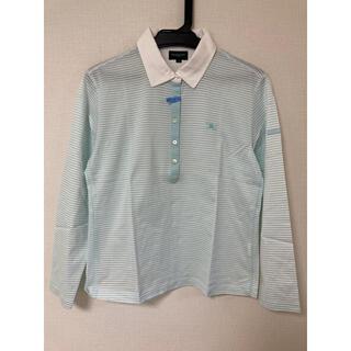 BURBERRY - バーバリーゴルフ 水色ボーダー 長袖ポロシャツ LL