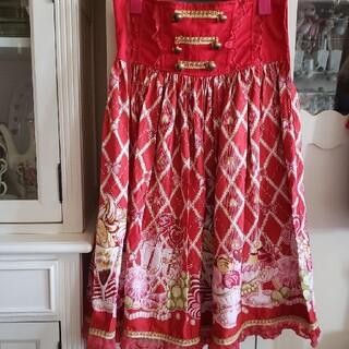 ボディライン(BODYLINE)のロリータ ハイウエストのスイーツ柄 スカート 金ボタン 赤(ひざ丈スカート)