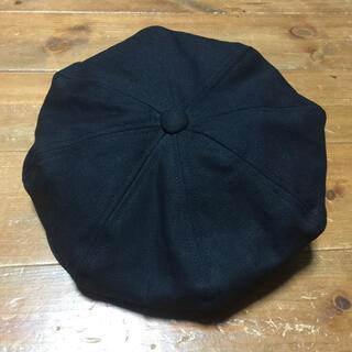 ハンドメイド ビッグキャスケット 黒 コットン帆布 サイズオーダー すぐ購入(キャスケット)