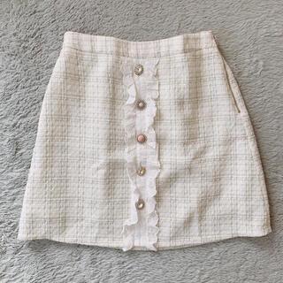 スワンキス(Swankiss)のSwankiss♡PN tweed bijou S/K♡ホワイト(ミニスカート)