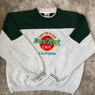 Champion - 超GOOD配色! 90s USA製 ハードロックカフェスウェット 緑 刺繍ロゴ
