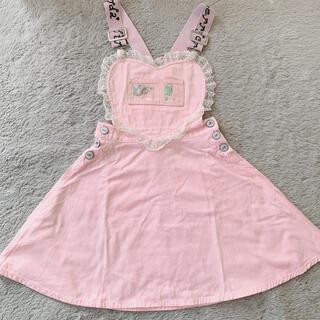 スワンキス(Swankiss)のSwankiss♡ハートジャンパースカート♡ピンク(ミニスカート)