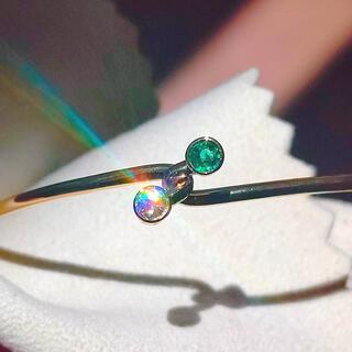 Tiffany & Co. - ティファニー❤️内径18cmダイヤ・エメラルド・ゴールドバングル