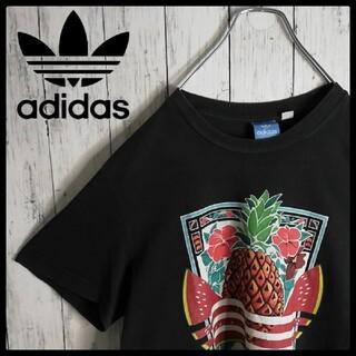 アディダス(adidas)の【90s 古着】アディダス ボックスロゴ トロピカル柄 クルーネックTシャツ(Tシャツ/カットソー(半袖/袖なし))