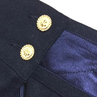 シャネル(CHANEL)のシャネル CHANEL 正規品 ウールスカート 濃紺 金ボタン マトラッセ(ひざ丈スカート)
