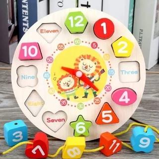 【限定セール】モンテッソーリ 木のおもちゃ 知育玩具 ひも通し 時計 型はめ