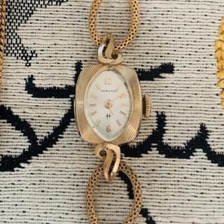 ハミルトン(Hamilton)のHamiltonハミルトン レディース アンティーク時計 14KYG 手巻き(腕時計)