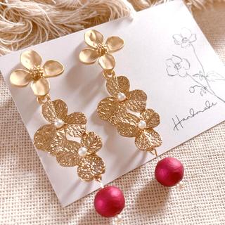 【売切価格】gold flower × red pearl pierce(ピアス)
