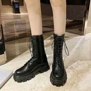 女性の秋と冬のブーツ、ハイヒール  厚底ニットニーハイブーツ23