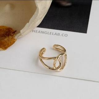 【限定SALE】イエローゴールド  クロスリング シンプル 指輪  フリーサイズ