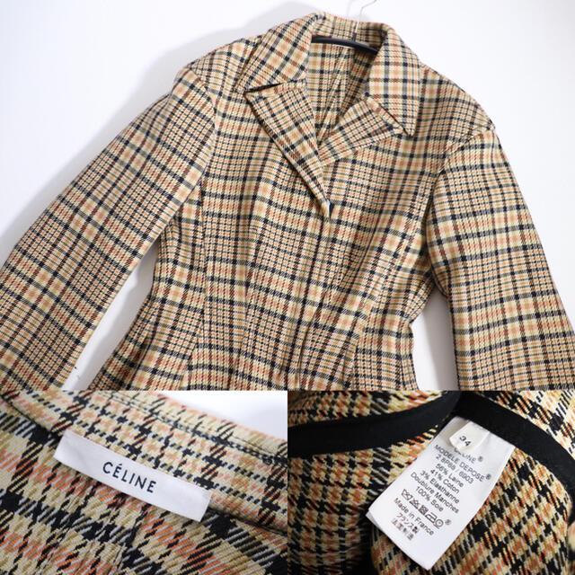 celine(セリーヌ)の超希少 新品同様 Celine セリーヌ チェック コート レディースのジャケット/アウター(ロングコート)の商品写真