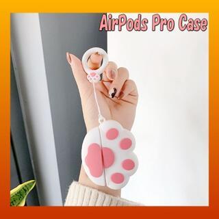 【AirPodsPro専用】ホワイト 猫 肉球 足跡 ケース カバー(ヘッドフォン/イヤフォン)