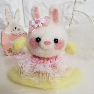 うさぎのレモンちゃん♡レモンのしきもの付き♪  羊毛フェルト ハンドメイド(ぬいぐるみ)
