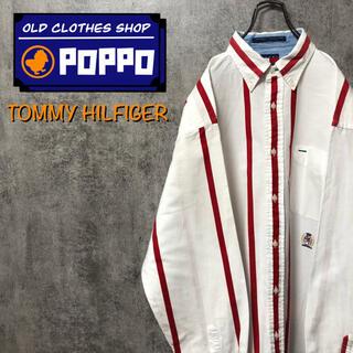 TOMMY HILFIGER - トミーヒルフィガー☆オールド刺繍ロゴワイドピッチボールドストライプシャツ 90s