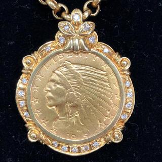 【超美品】K21.6インディアン金貨 ダイヤモンド付、K18金 ペンダント
