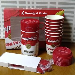 サーモス(THERMOS)の新品未使用 キャンベルの水筒と 紙コップ&スプーン7組(日用品/生活雑貨)