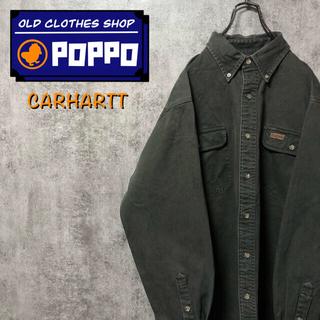 carhartt - カーハート☆レザーロゴ入りフラップ付きダブルポケットワークシャツ