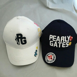 PEARLY GATES - パーリーゲイツ 二点 ネイビー ホワイト ゴルフ 帽子 未使用 タグ無し