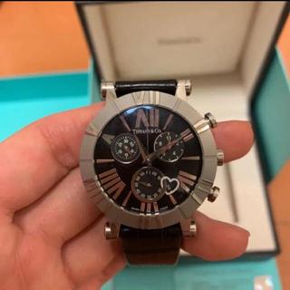 Tiffany & Co. - ティファニー 腕時計 アトラス クロノグラフ 黒 ステンレス クロコダイルレザー