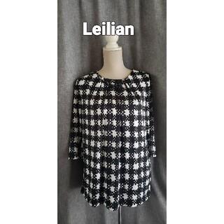 レリアン(leilian)の大変美品 レリアン 日本製 飾り付き ジャージチュニックブラウス(チュニック)