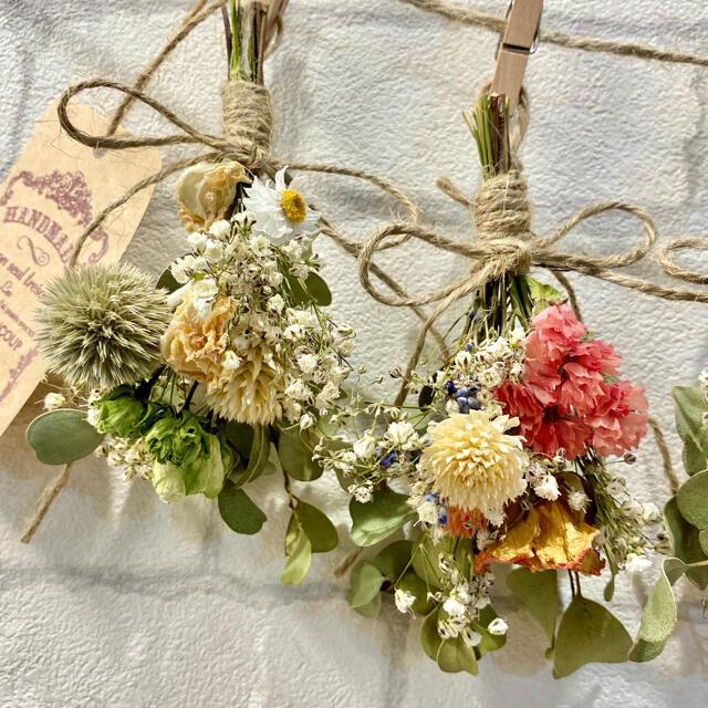 ドライフラワー スワッグ ガーランド❁205 カラフル 薔薇 かすみ草 花束♪ ハンドメイドのフラワー/ガーデン(ドライフラワー)の商品写真